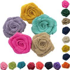 10 pcs/Pack Rustique Fleur Rose Décoration De Mariage Toile De Jute Toile De Jute Jute Cru Décor