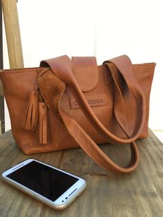 Small tan leather shoulder bag with tassel, leather purse, leather tote, women leather purse,