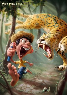 The art of Tiago Hoisel is probably one of the finest examples of this genre. Tiago Hoisel is a Brazil based caricature illustrator who uses digital technology to show a combination of fun and realistic images through his work. Cartoon Cartoon, Cartoon Kunst, Cartoon Characters, Art And Illustration, Character Illustration, Fantasy Kunst, Fantasy Art, Animation, 3d Character