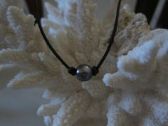 Peacock+Pearl+and+Black+Leather+Choker+Necklace+by+pamshaffer,+$17.00