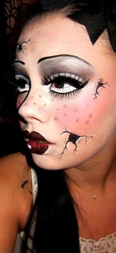 Broken doll make up