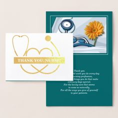 Thank You, Nurse | Happy Nurses Day | Happy Nurses Week | Stethoscope and Spring Daisy design personalized Real Foil Luxury Nurse Appreciation Greeting Cards. Matching cards, postage stamps and other products available in the Business, Occupation Specific / Healthcare Category of the Mairin Studio store at zazzle.com