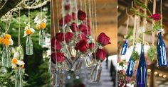 hanging bottles with flower - Google Search