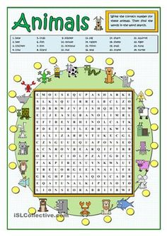 Some practice on animals. Students find the words given above with the pictures of animals arond the wordsearch. Then they find the words in the wordsearch to reinforce the practice. Key included.Here you are some practice with more animals…