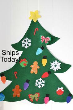 Felt Christmas Tree for pretend play todder felt tree kids   Etsy Diy Felt Christmas Tree, Christmas Trees For Kids, Preschool Christmas, Toddler Christmas, Christmas Home, Christmas Lights, Felt Tree, Felt Diy, Handmade Felt