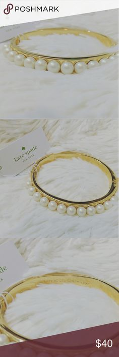 NWT KATE SPADE PEARL BRACELET Brand new Kate Spade pearl bracelet Materials:  - Shiny 12k gold with enamel coating Details: - Weight: 37.57g - Inner circumference 2-1/ 4 x 2-1/ 8 in - Hinged closure - Comes with dust bag Kate Spade Jewelry Bracelets