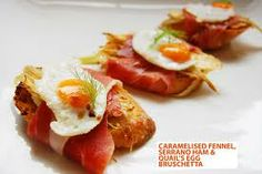 Iberico ham with quails egg and fennel