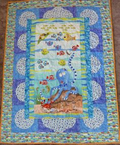 Quilt Kit, Under the Sea, Designed by Cyndi Hershey, Pattern and Fabric. Fast Shipping https://www.etsy.com/shop/suesfabricnsupplies
