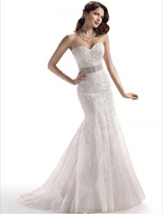 Tulle and Lace Sweetheart Neckline Mermaid Wedding Dress MS004. This is beautiful. I can see myself walking down the aisle in this!!