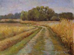 """Daily Paintworks - """"Farm Road, Frontenay Sur Dive, Poitiou, France"""" - Original Fine Art for Sale - © Julie Snyder"""