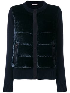 Shop Moncler velvet grosgrain trim cardigan