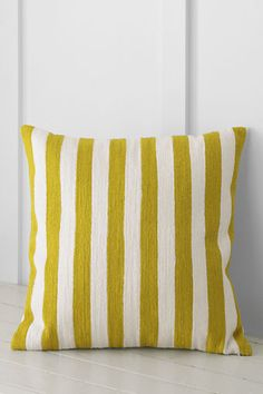 """18"""" x 18"""" Embroidered Stripe Decorative Pillow Cover or Insert from Lands' End"""