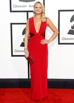 Miranda Lambert Looks Slim, Sexy in Plunging Red Gown at 2014 Grammy Awards: Picture