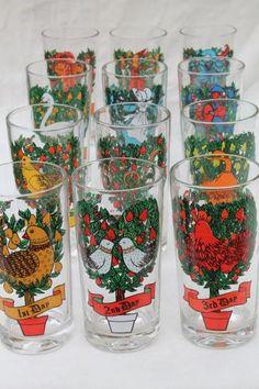12 days of christmas drinking glasses set