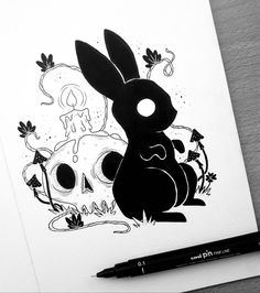"2,764 Me gusta, 18 comentarios - Behemot (@behemot_crta_stvari) en Instagram: ""Little demon rabbit commission  . . . #illustration #ilustracija #illustrator #dibujo #art…"""