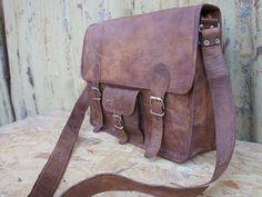 18 inch handmade leather messenger bag retro leather bag/ satchel/ travel bag/ office/shoulder bag laptop bag