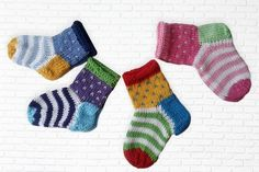 Baby Knitting Patterns These colorful baby socks are just right for little baby feet. Knitted from cotton . Crochet Pullover Pattern, Crochet Socks, Crochet Baby Booties, Knitting Socks, Knitted Baby Socks, Free Knitting, Knit Socks, Knitted Slippers, Crochet Granny