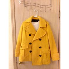 Mustard Yellow Double breasted Coat Really high quality and almost new! Worn less than 5! Bought from Korea and it's 90% wool· really bright yellow color with black buttons. size 170/92. good fits for M~ L.                     *this is not from J.crew* J. Crew Jackets & Coats Pea Coats