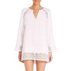 Tory Burch Embroidered Linen Cutout Tunic ($148) ❤ liked on Polyvore featuring tops, tunics, swimwear - modern swim, white, white linen tunic, sweater pullover, white linen top, long sleeve tunic and linen tunic