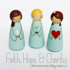 Faith Hope and Charity  Handpainted Peg Dolls by tomiannie on Etsy, $29.00