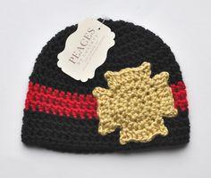 Baby Hats Fireman / Firefighter Baby Beanie by peacesbycortney Crochet For Boys, Crochet Baby Hats, Crochet Beanie, Knitted Hats, Booties Crochet, Firefighter Baby, Firefighter Crafts, Fireman Hat, Crochet Baby Blanket Beginner
