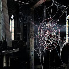 "bejeweled spiderweb ... I love this so much, I had an elf recreate it in one of my shortstories. He gifts it to a new home, so that ""Grandmother Spider"" (the deity that weaves our world and fates) can move in and bring good luck to the inhabitants ..."