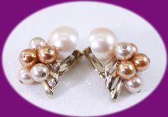 Vintage Pearl Earrings Copper an Cream Faux Pearl Earrings Clip on Earrings Pearl Earrings Gold Earrings by IRENESVINTAGEBLING on Etsy