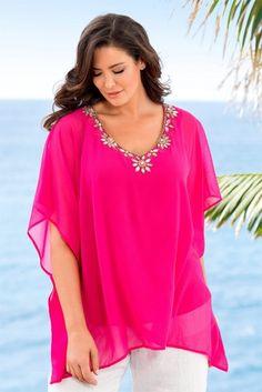 Plus Size Women's Fashion - Sara Plain Poncho - EziBuy Australia