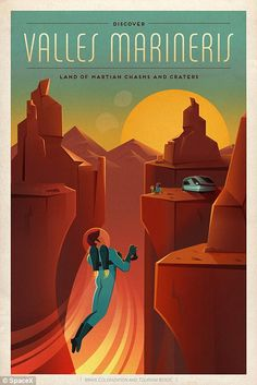 'Discovery Valles Marineris, Land of Martian Chasms and Craters,' says one poster about the canyon (shown)