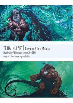 Maori God Prints Tangaroa Tane Mahuta Link in my bio Hawaiian Legends, Maori Legends, Maori Patterns, Warrior Drawing, Polynesian Art, Maori Designs, New Zealand Art, Nz Art, Maori Art