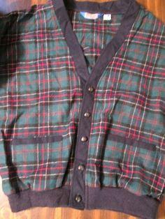 Pendleton Cardigan Golf Sweater 100% Virgin Wool Mens Green Tartan Plaid  Large #Pendleton #Cardigan