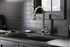KOHLER Artifacts Single-Handle Pull-Down Sprayer Kitchen Faucet in Vibrant Polished Nickel - The Home Depot Home Depot, Kohler Artifacts, Double Bowl Sink, Black Kitchen Faucets, Glass Front Cabinets, Bar Faucets, Thing 1, Marble Countertops, Granite