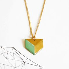 Sabine Necklace Chevron Green now featured on Fab. Enamel paint on brass. Son for a Sailor.
