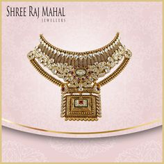 The mesmerizing antique gold necklace is inspired by Indian temples and their beauty. The intricate design and floral motifs feature kundan, rubies and emerald precisely crafted to complement every Indian bride. India Jewelry, Gold Jewelry, Bangle Bracelets, Bangles, Jewellery Sketches, Wedding Costumes, Ruby Necklace, American Wedding, Gold Necklaces