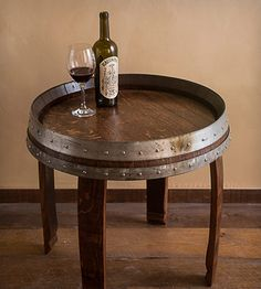 """Wine Barrel End Table 22"""" 