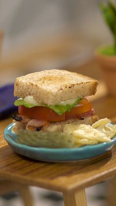 Tiny BLT You can call this sandwich a TBLT for short.<br> You can call this sandwich a TBLT for short. Mini Sandwiches, Cute Food, Yummy Food, Tiny Cooking, Cooking Pasta, Cooking Cake, Healthy Cooking, Taste Made, Tiny Food