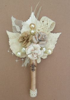 New Vintage /Antique inspired boutonniere with by ericacavanagh