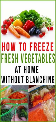 How To Freeze Fresh Vegetables At Home Without Blanching - Home Gardenist Freezing Fruit, Freezing Vegetables, Frozen Vegetables, Veggies, Freezer Cooking, Freezer Meals, Freezer Recipes, Crockpot Recipes, Cooking Tips