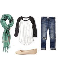 A fashion look from January 2015 featuring American Eagle Outfitters t-shirts, Abercrombie & Fitch jeans y Charlotte Russe flats. Browse and shop related looks.