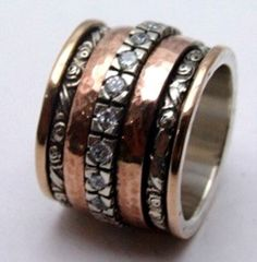 beautiful spinner rings with cz | rings wide band spinner ring silver rose gold 9ct cz zircons spinning ...