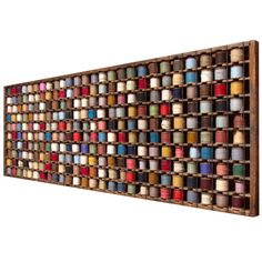 (1stdibs.com)   French Wood Rack with Wool Yarn Bobbins - Circa 1890-1910 - Industrial wooden rack for wool yarn bobbins from a rug factory in northern France, original hardware.