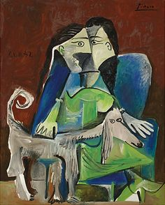 By Pablo Picasso (1881-1973), Femme au Chien. Not really a fan of Picasso, but I thought it was cool they he painted a dog. I did not know that