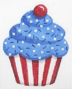 Hand painted needlepoint canvases - American themes, original needlepoint by Kate Dickerson (KSH) Pearler Bead Patterns, Perler Patterns, Wedding Cross Stitch Patterns, Cross Stitch Designs, Cross Stitching, Cross Stitch Embroidery, Cupcake Cross Stitch, Plastic Canvas Christmas, Cross Stitch Needles