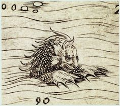 Sea Monster from Gastaldi's map of Africa in the 1563 edition of Ramusio's 'Navigazioni', f. 261 (in British Library, G.6820)