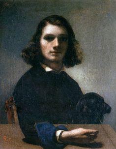 """Self-Portrait (Courbet with Black Dog)"""