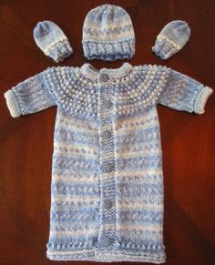 KNITTING PATTERN  Preemie & Newborn  SLEEP SACK (Sleeping Bag),  HAT AND MITTENS SET   ( Used in the NICU and at Home )     Free pattern ...