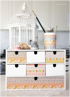 Washi tape can be incorporated into many DIY projects. It comes in every color and pattern you can imagine,it's an incredibly useful tool for DIY projects around the home. Here are ten of my favorite chic washi tape ideas to get you inspired. Washi Tape Uses, Washi Tape Crafts, Masking Tape, Washi Tapes, Duct Tape, Washi Tape Storage, Furniture Making, Diy Furniture, Washi Tape Furniture