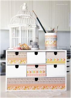 small decorated Ikea drawer using MME's decorative tape #washi #maskingtape