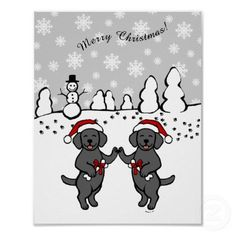 Black Labrador Christmas Cartoon Print