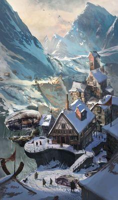 New fantasy landscape art snow ideas Concept Art Landscape, Fantasy Concept Art, Fantasy Landscape, Fantasy Artwork, Landscape Art, Fantasy Town, Medieval Fantasy, Fantasy World, Fantasy Village